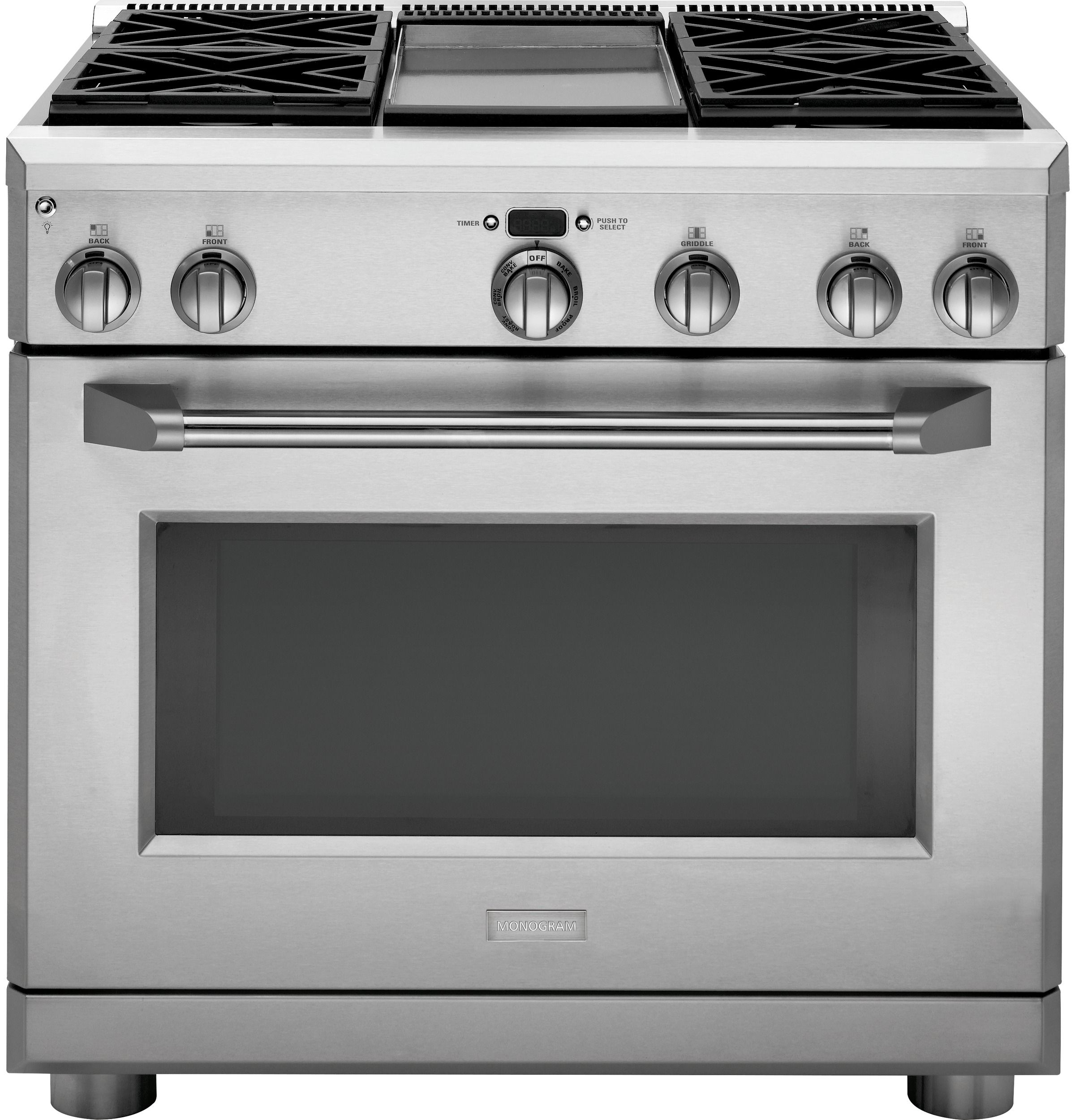Zdp364ndpss Ge Monogram 36 Dual Fuel Professional Range With 4 Burners And Griddle Natural Gas Monogram Appliances Convection Range Dual Fuel Ranges