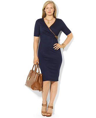 Lauren Ralph Lauren Plus Size Dress, Three-Quarter-Sleeve ...