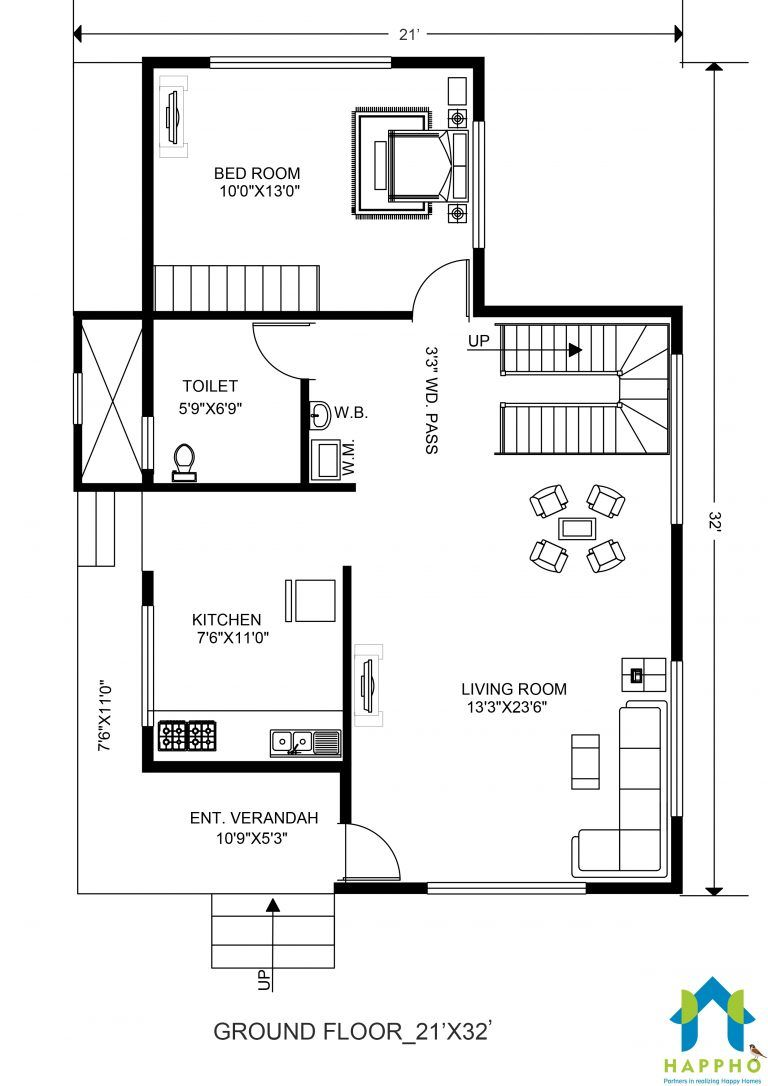 1 Bhk Floor Plan For 21 X 32 Feet Plot 672 Square Feet 2 To Build Your Dream Home With Happho Modern House Floor Plans House Floor Plans Garage Floor Plans