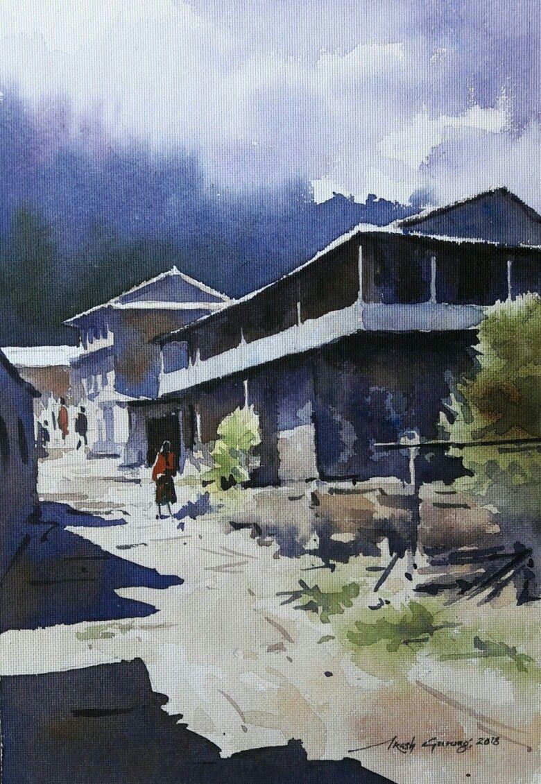 Watercolor Landscape Painting Nepal Akash Gurung Art