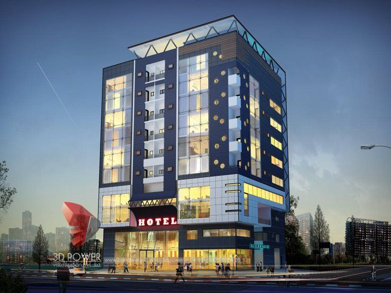 3d hotel interior exterior day rendering and elevation