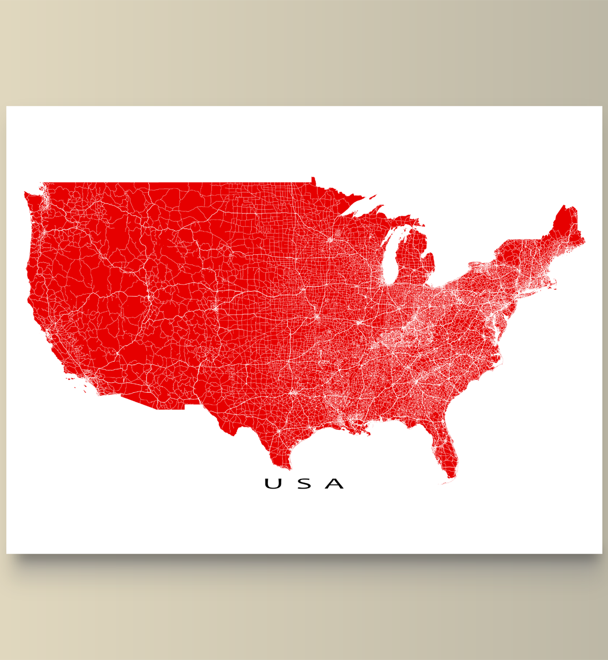 USA Map Print United States Of America Roads Printing And Products - Us map of roads