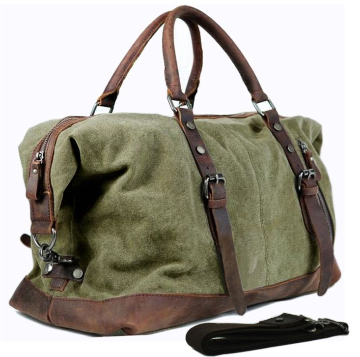 59347270670 CANVAS DUFFLE BAG military style with cotton web shoulder strap, double  reinforced grab handle, snap hook closure.