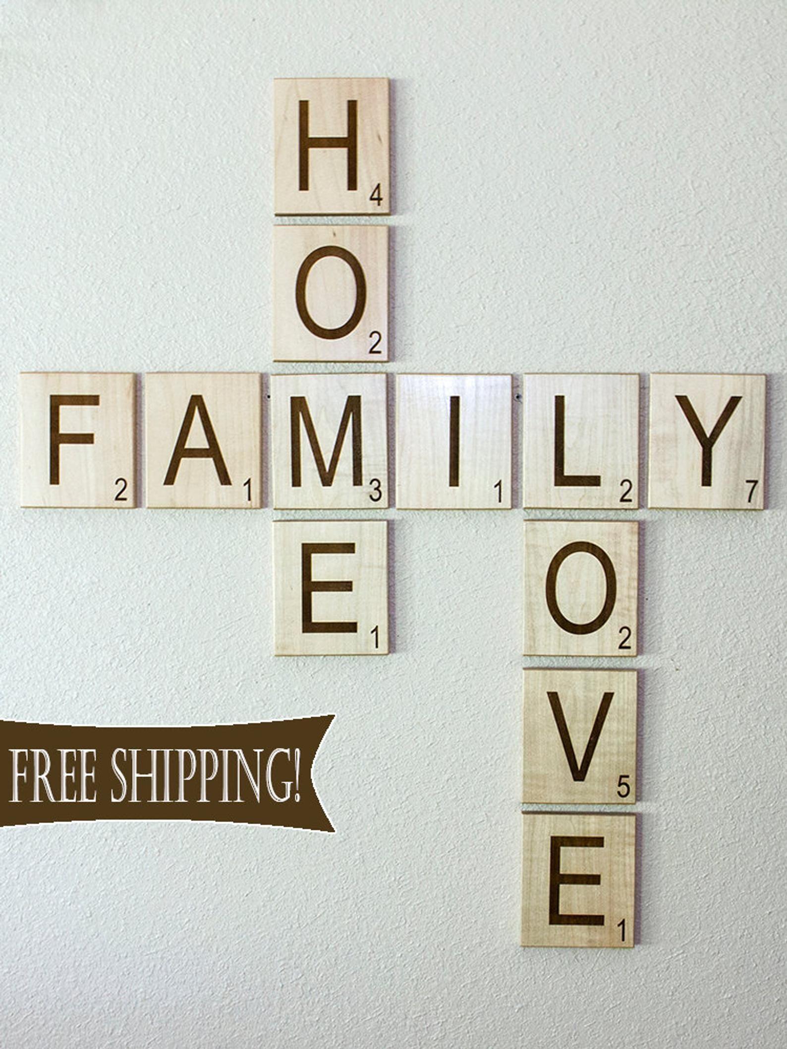 Scrabble Letters Large Individual Scrabble Tiles Crossword Etsy Scrabble Wall Decor Scrabble Wall Scrabble Letters Living room letters crossword