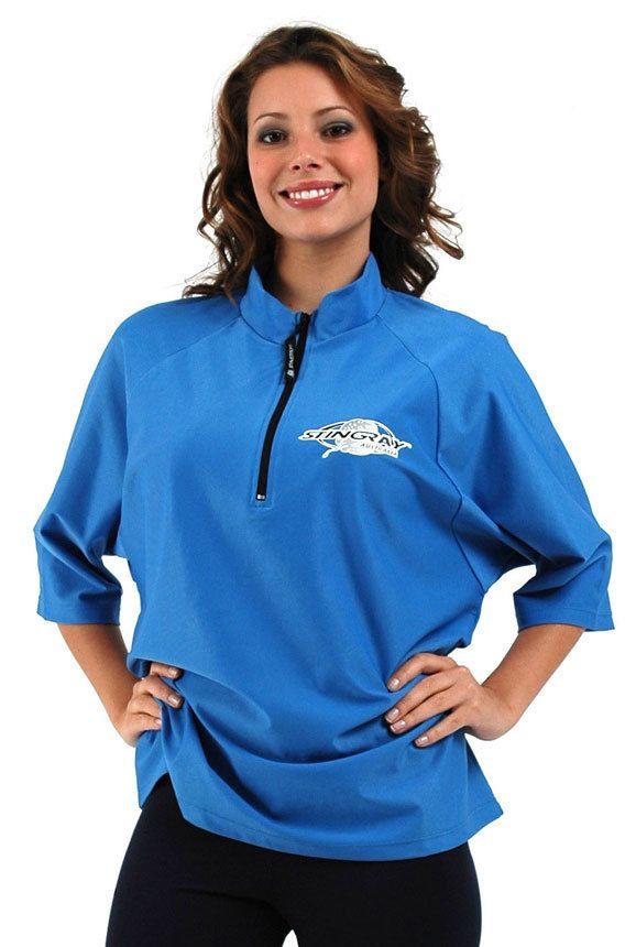 13f3d32894b Women s Plus Size Swim Shirt - Loose Fit - With Zipper - Azure