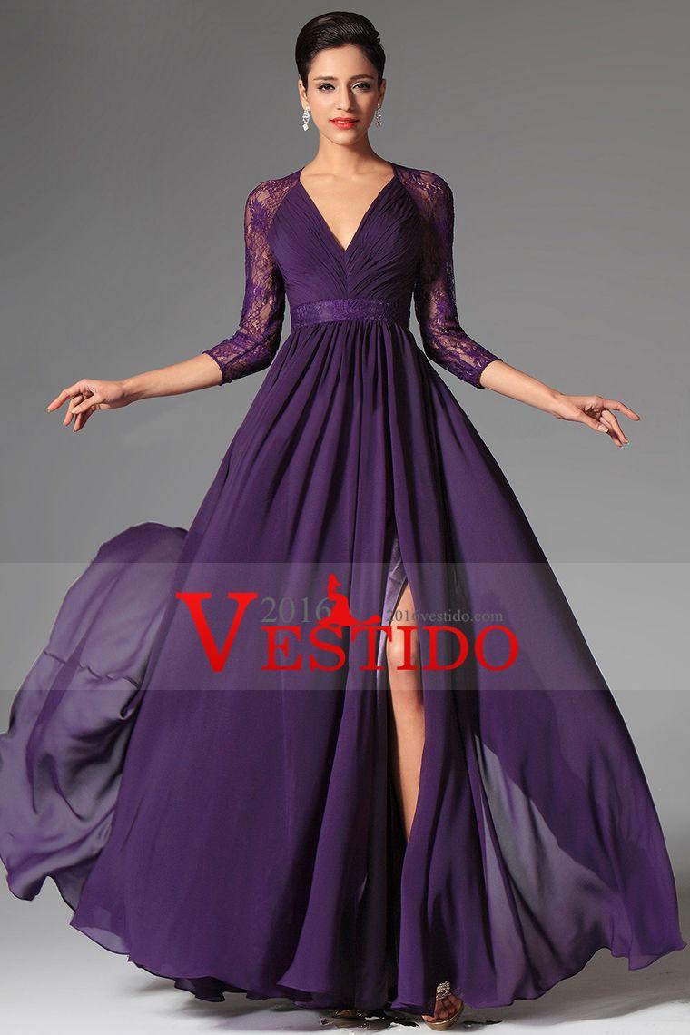 2015 V-cuello 3/4 longitud de la manga vestidos de baile Una línea ...