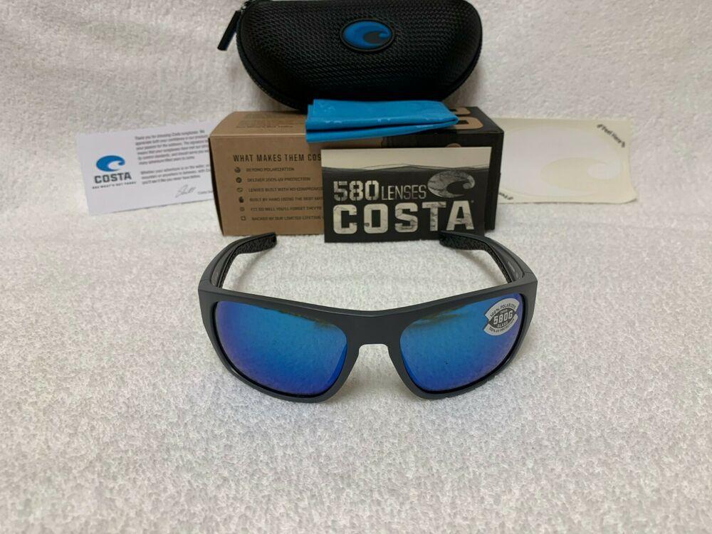 Costa Del Mar Rinconcito Matte Gray Green Mirror 580 Glass Polarized Lens