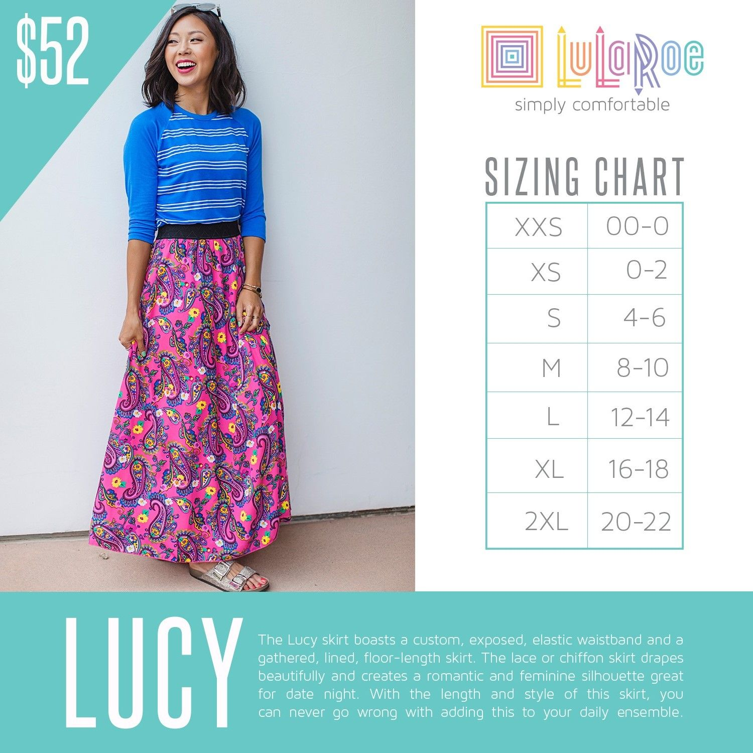 0bdf973e5cad1 LuLaRoe Lucy Sizing Chart and Price