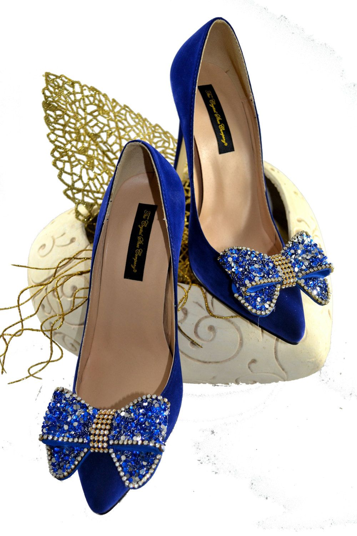 Swarovski crystal my something blue cobalt navy suede bridal wedding