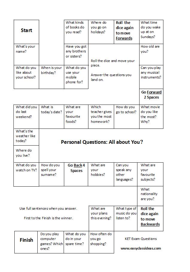 Cambridge Key Ket Speaking Game For Personal Questions Educacion Ingles Actividades De Ingles Vocabulario En Ingles