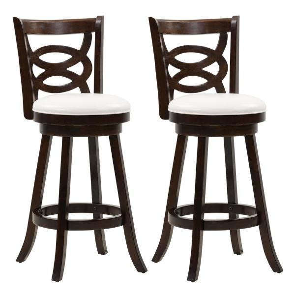 Corliving Woodgrove 29 In Wood Swivel Barstools With White Leatherette Seat And Circular Design Set Of 2 Dwg 819 B Corliving Bar Stools Wood Bar Stools