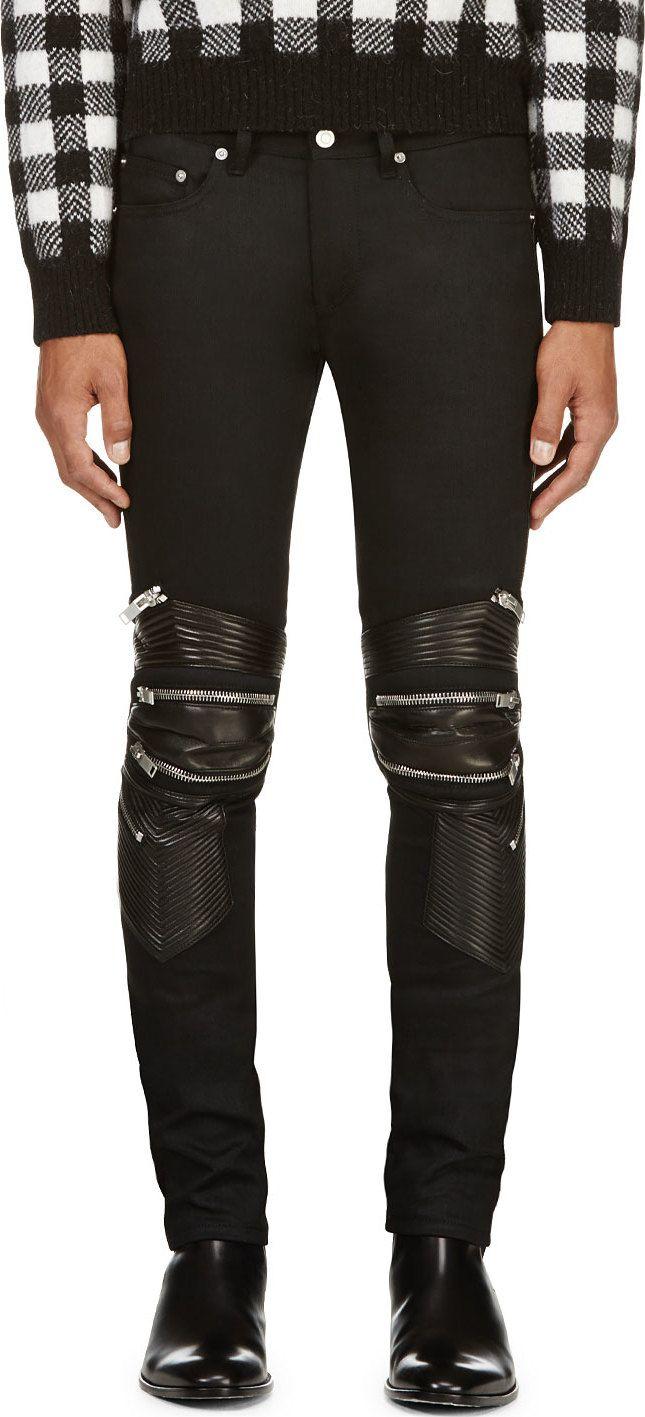 4ebe03722 Saint Laurent  Black Leather-   Zip-Trimmed Biker Jeans
