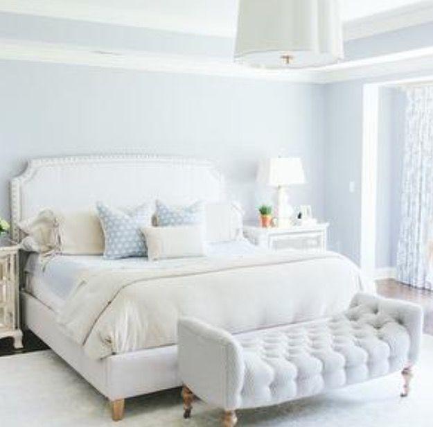 Blue Walls White Headboard Blue Master Bedroom Feminine Bedroom