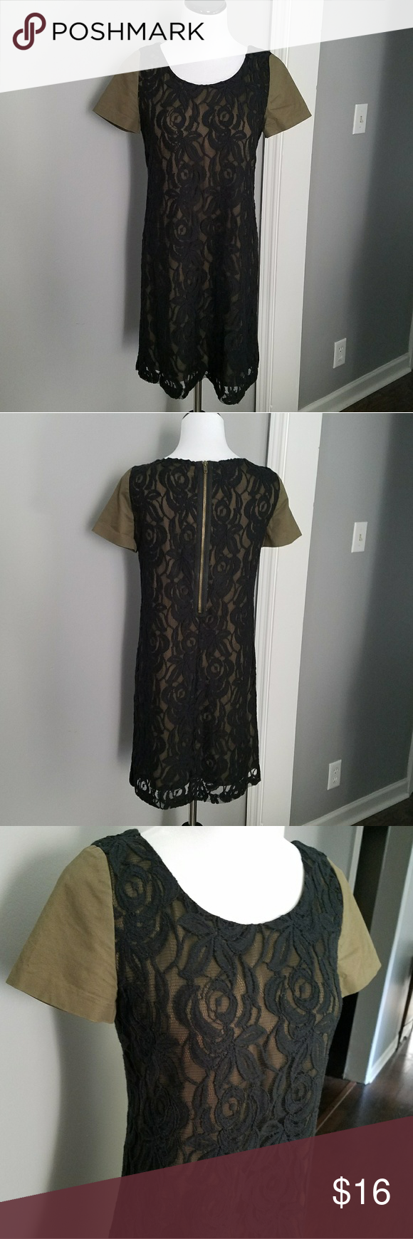 Green dress with lace overlay  UK Style French Connection Lace Shift Dress Military green color