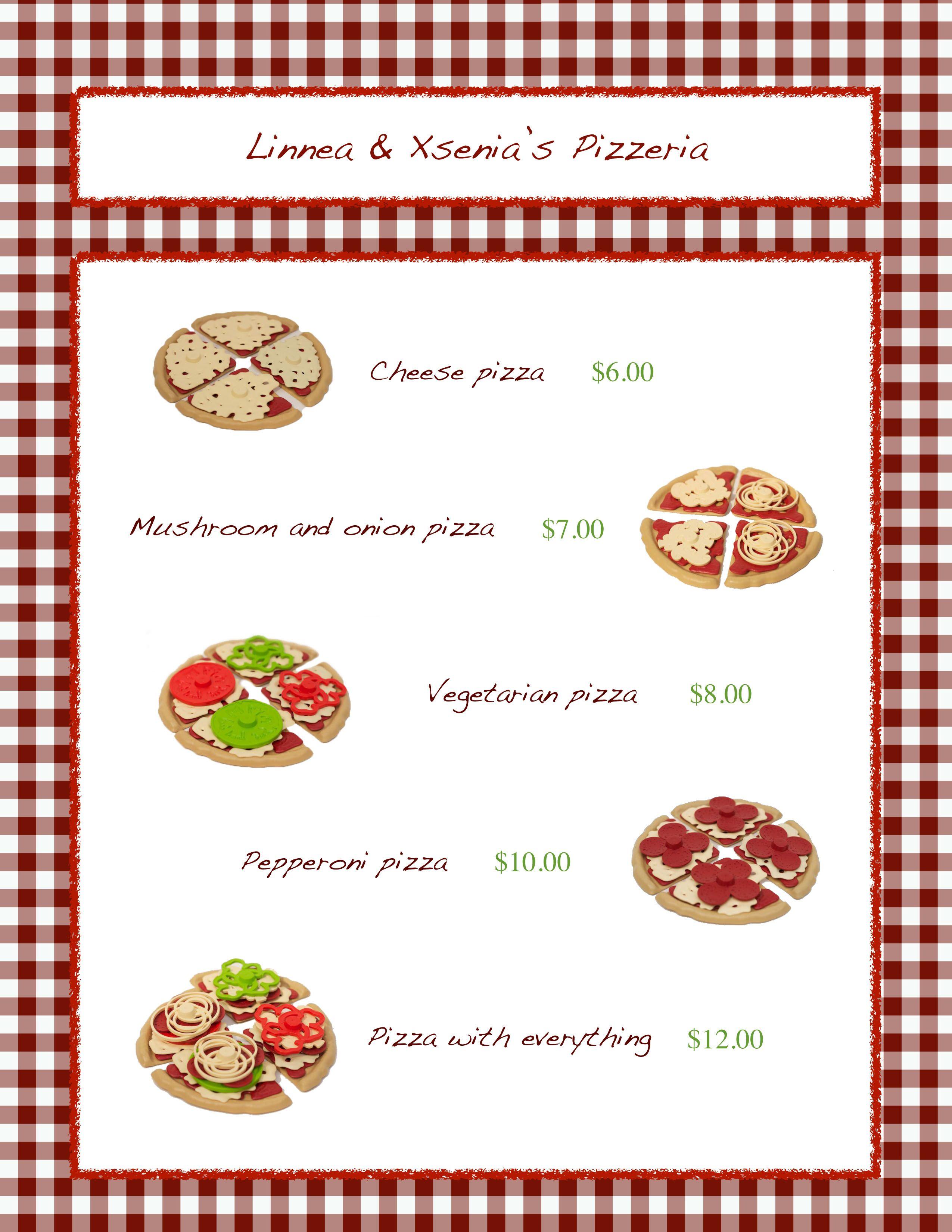 Pizzeria Pretend Play Menu