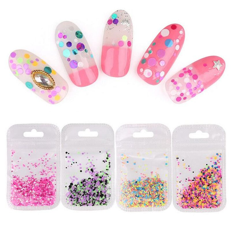 Fluorescent series round nail sequins Nail art 16 color mix 1mm-3mm ...