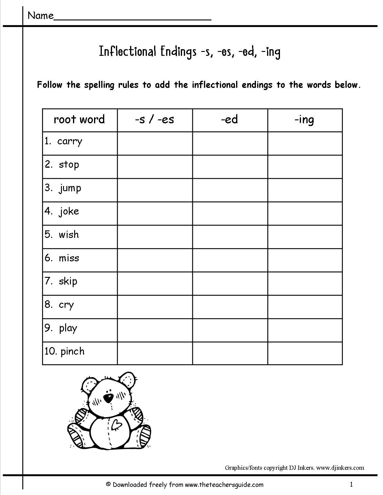 Inflectional Endings Snowman Worksheety   Printable Worksheets and  Activities for Teachers [ 1650 x 1275 Pixel ]