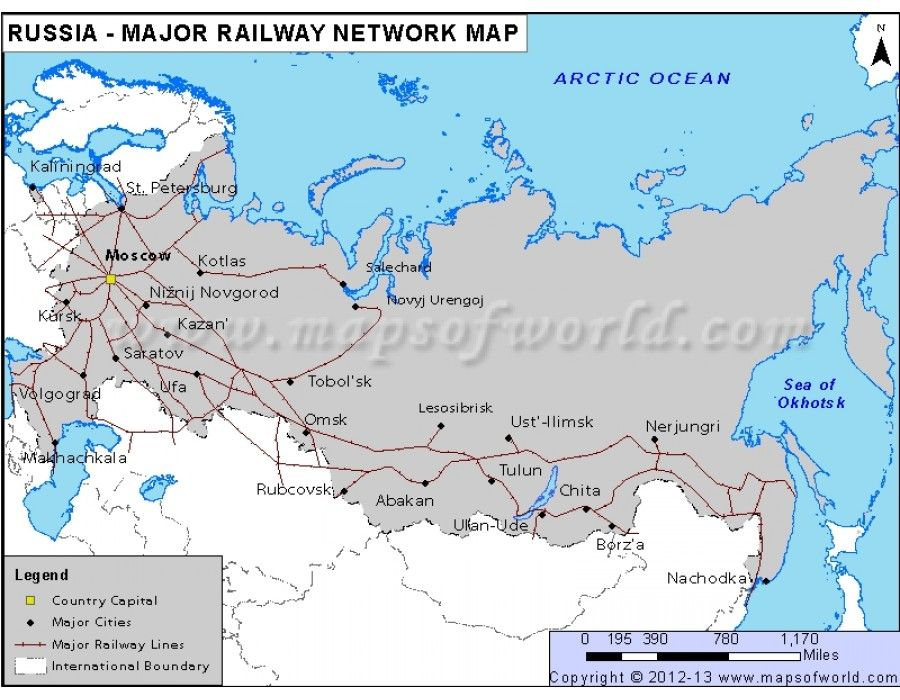 Russia Major Railway Network Map Country Maps Pinterest