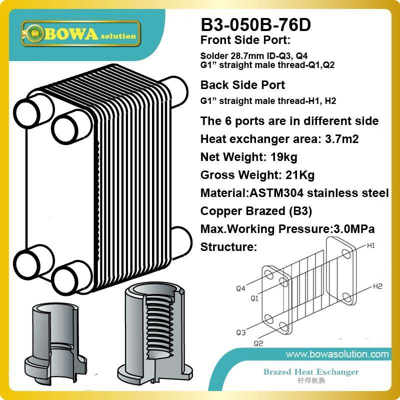 366.70$  Buy now - http://ali4bh.worldwells.pw/go.php?t=1944174931 - 76 plates ASTM304 stainless steel  compact size condenser for  laser equipment cooling system replace Danfoss XB  heat exchanger