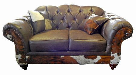 Sable Cowhide Loveseat Rustic Furniture Great Western Co