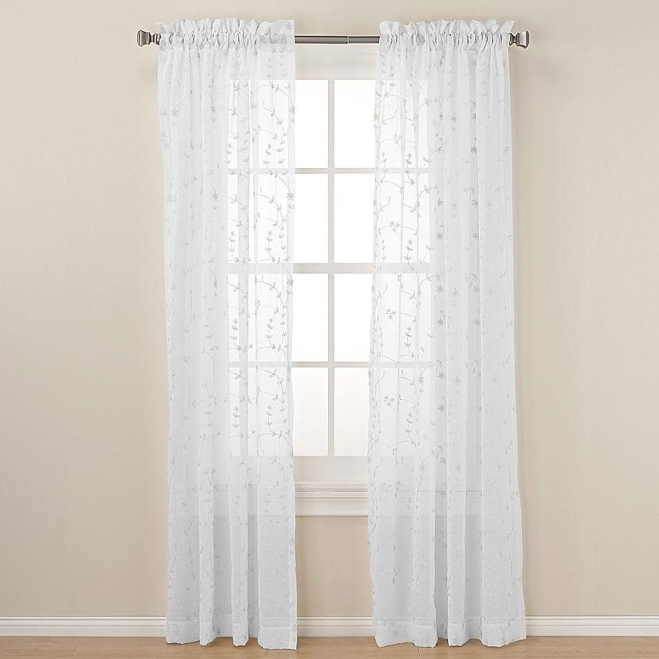 Caspia 108 Rod Pocket Sheer Window Curtain Panel In White White