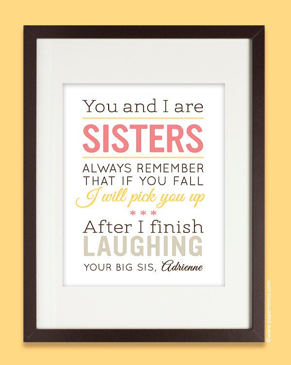 Easy Birthday Cards For Sister ~ Sisters gift print personalized birthday for sister quote art with name