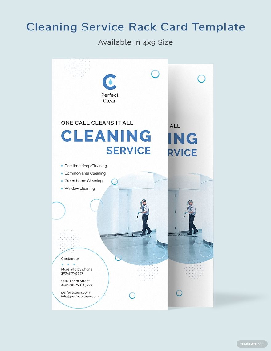 Cleaning Services Rack Card Template Word Psd Indesign Apple Mac Pages Publisher Illustrator In 2020 Rack Card Templates Rack Card Card Template