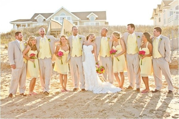 Pale Yellow Beach Wedding Beach Bridal Party Yellow And Pink Beach Wedding Macon Photog Beach Wedding Suits Beach Theme Wedding Beautiful Beach Wedding