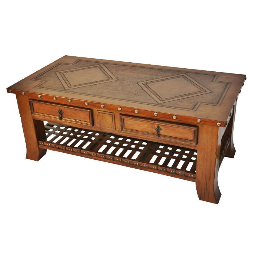 Superbe Coffee Table With Braided Leather Shelf