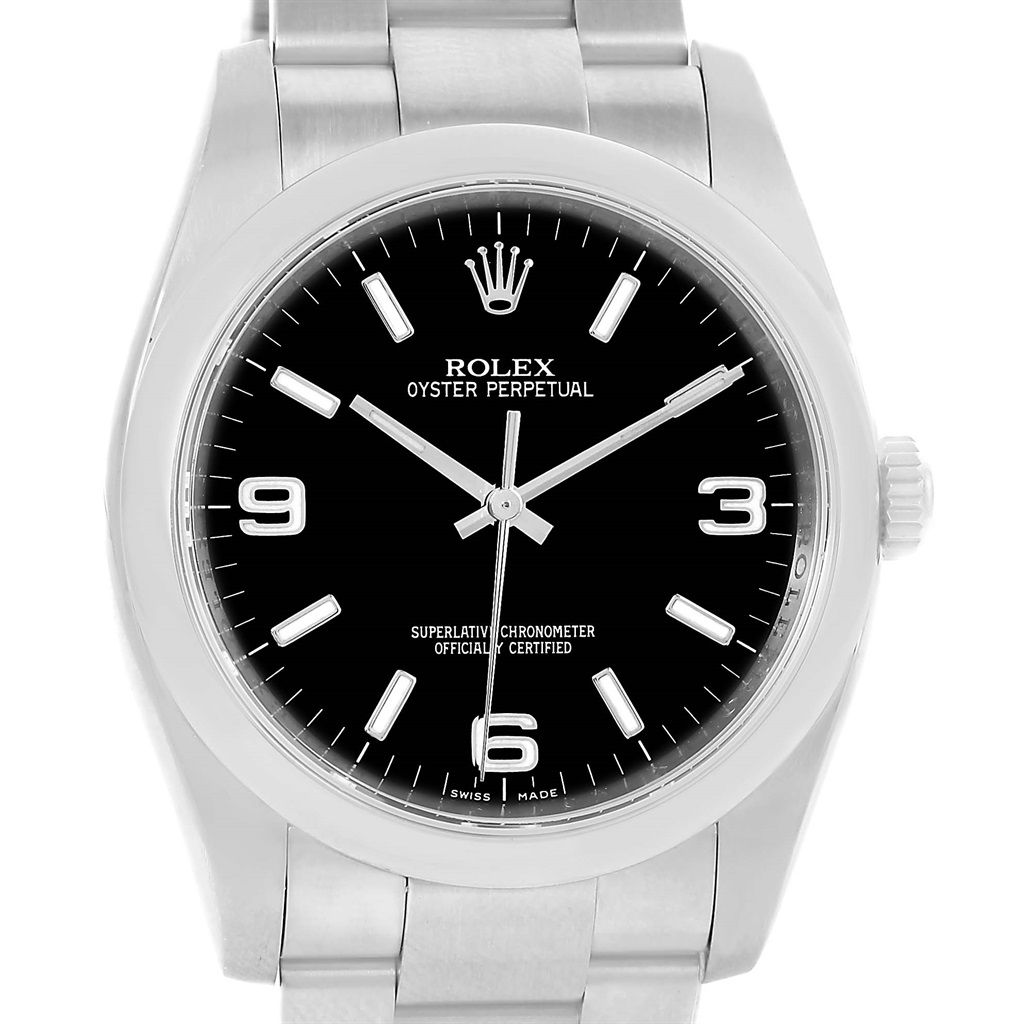 Rolex No Date Black Dial Stainless Steel Mens Watch 116000