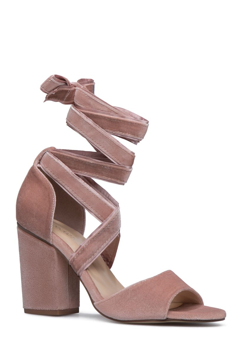 e39f52e2a96 Mix luxurious construction and soft ankle ties with a chunky heel for a  fashionable balance. Rock this heeled sandal everywhere from coffee dates  to evening ...