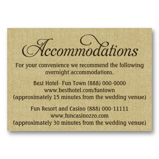 Burlap Wedding Accommodation - Reception Cards | Pinterest ...