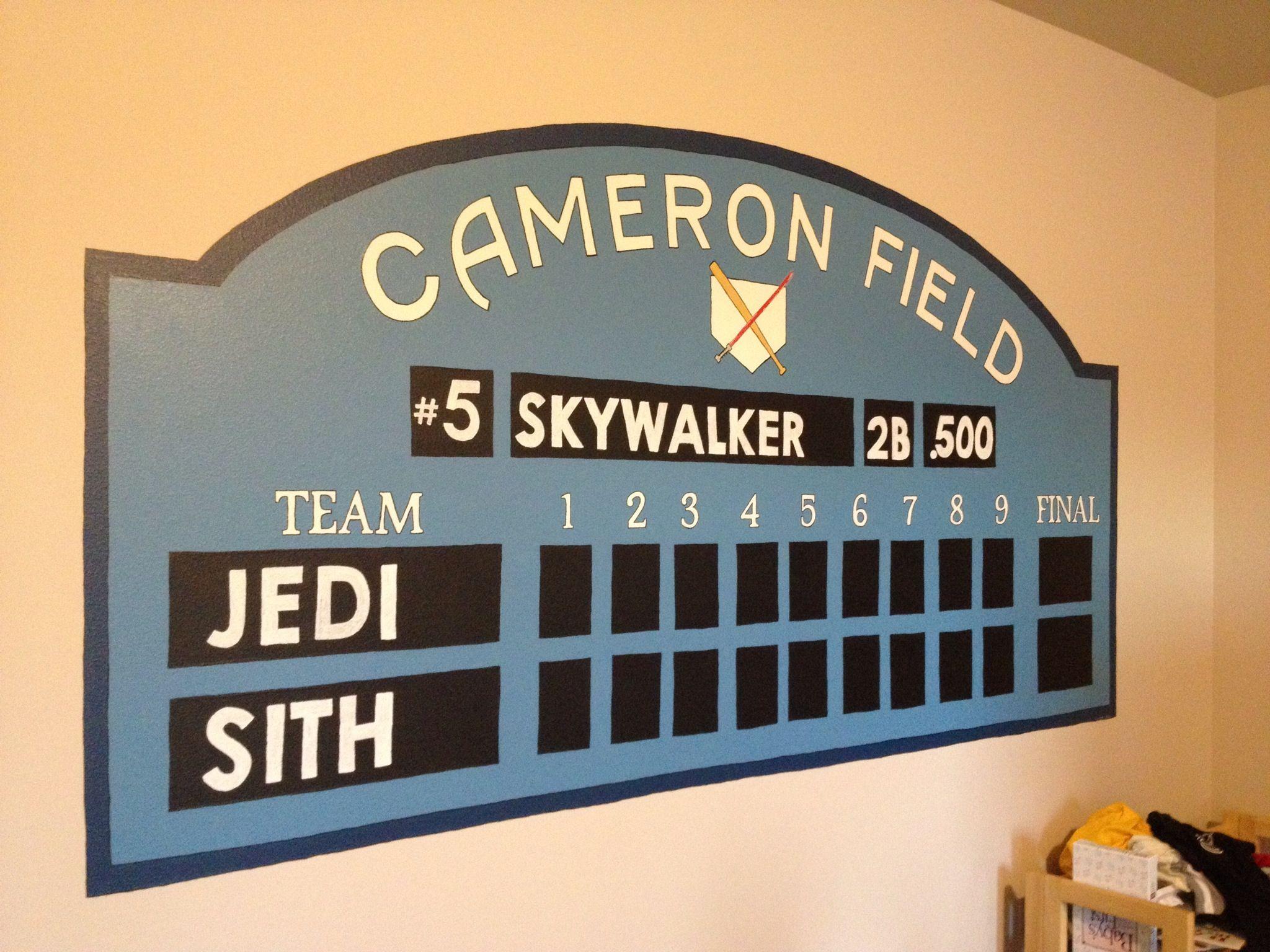 Baseball Scoreboard Wall Mural