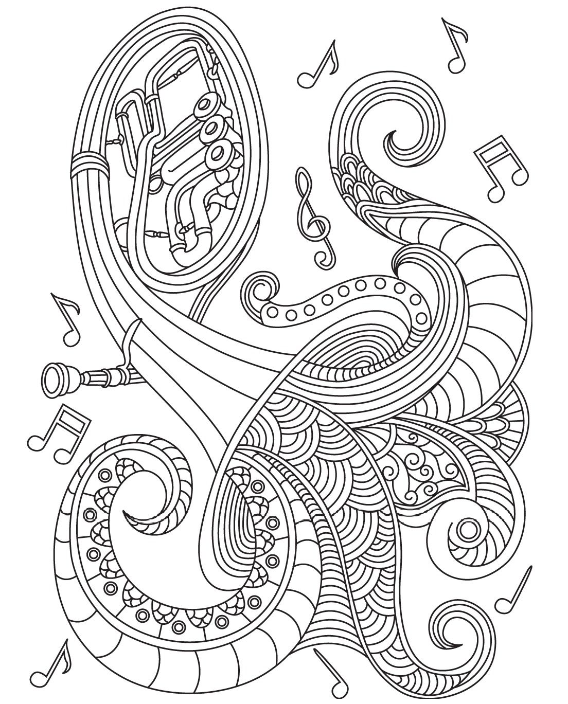 Musical Instrument Colorish coloring book for adults