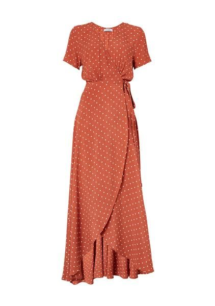 c19dcb3491928f Lilly Wrap Maxi Dress Classic Polka Dot Rust | AUGUSTE .... Sans polka dots