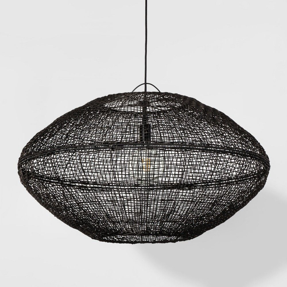 best sneakers 05ca2 d4bd0 Natural Woven Oblong Extra Large Pendant Lamp Black ...
