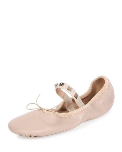 f0852a015b9e VALENTINO Rockstud Leather Ballerina Flat