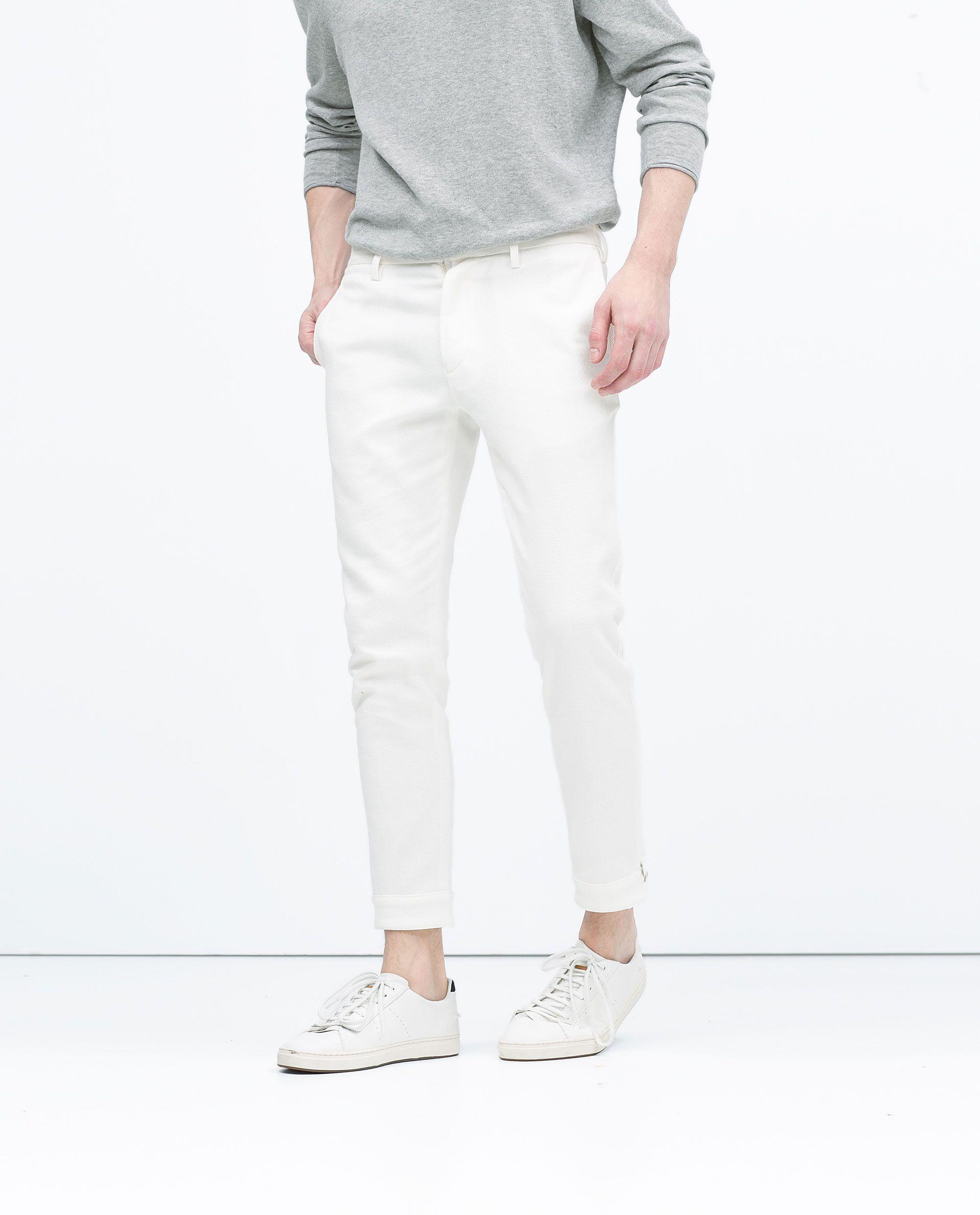 Pantalon De Vestir Blanco Hombre Pantalones Zara
