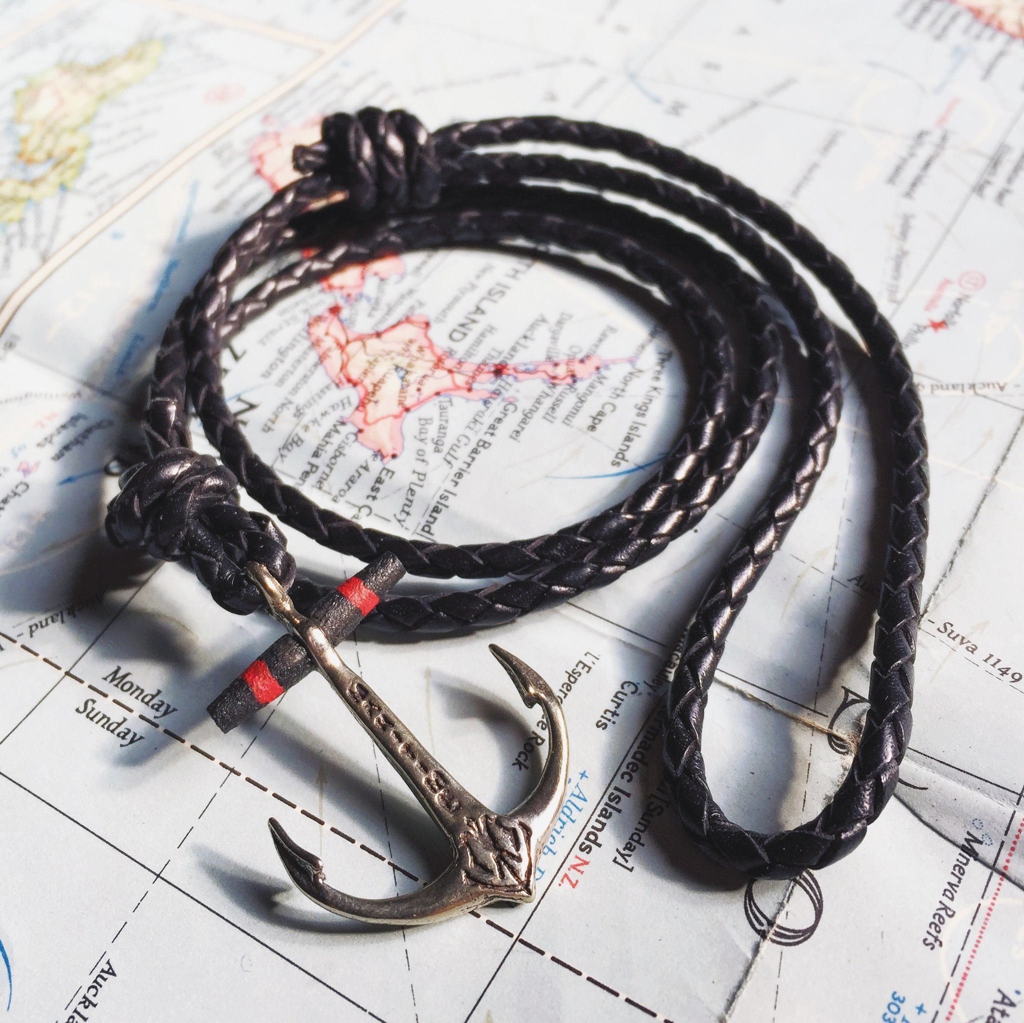 Nautical Wood Beam Anchor on Black Braided Leather - Red Stripes