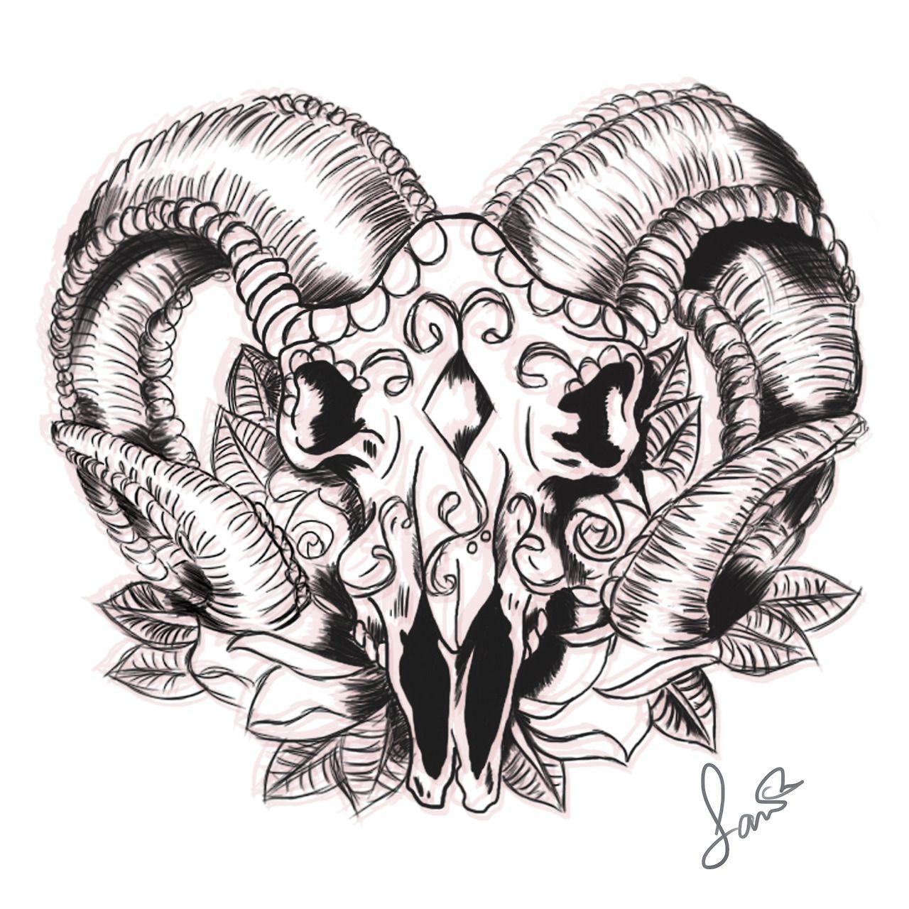 tattoo sketch Tumblr Ram tattoo, Aries tattoo