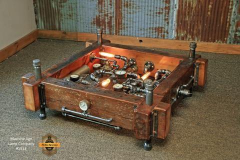 Steampunk Industrial Table Coffee Barn Wood Gauges Table