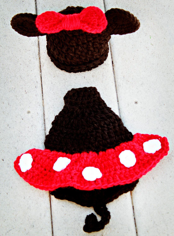 Newborn Minnie Mouse Hat Cape Set Ready to Ship. $20.00, via Etsy.