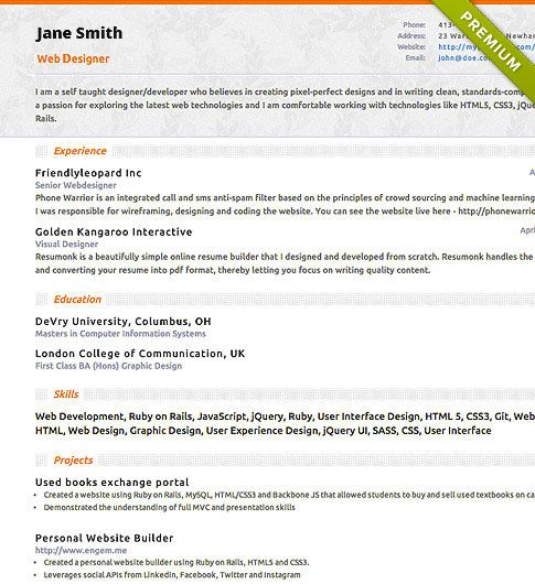Resume Template  Slim  Create Your Cv  Work    Cv