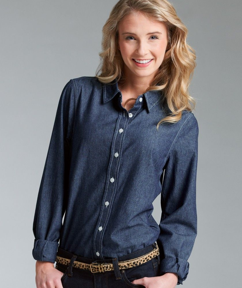Women's Straight Collar Chambray Shirt - 2329. 100% cotton indigo ...