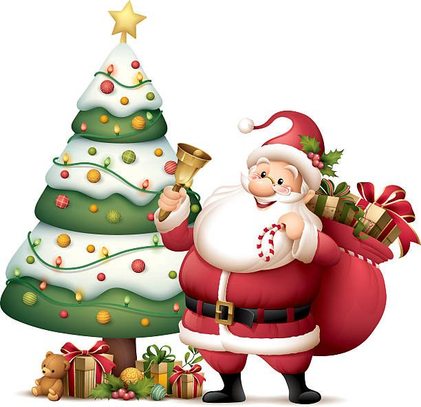 Santa Claus With Christmas Tree Christmas Tree Images Christmas Cartoons Christmas Tree Wallpaper