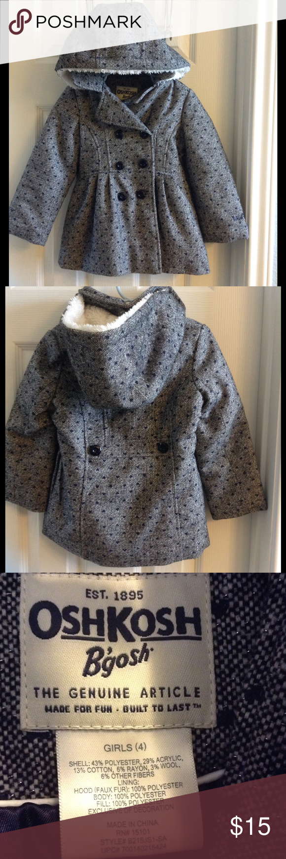 Blue and White hooded girls coat Navy blue tiny hearts with white fuzzy hood interior. Button up - no zipper. Excellent condition. Very warm. Osh Kosh Jackets & Coats