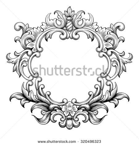 Vintage baroque frame border leaf scroll floral ornament engraving ...