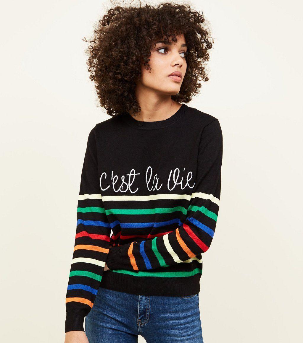 Black stripe cuest la vie slogan jumper in virtual wardrobe