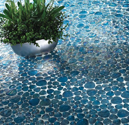 Glass Pebble Floor Iridescent Aqua Glass Weatherly Tile