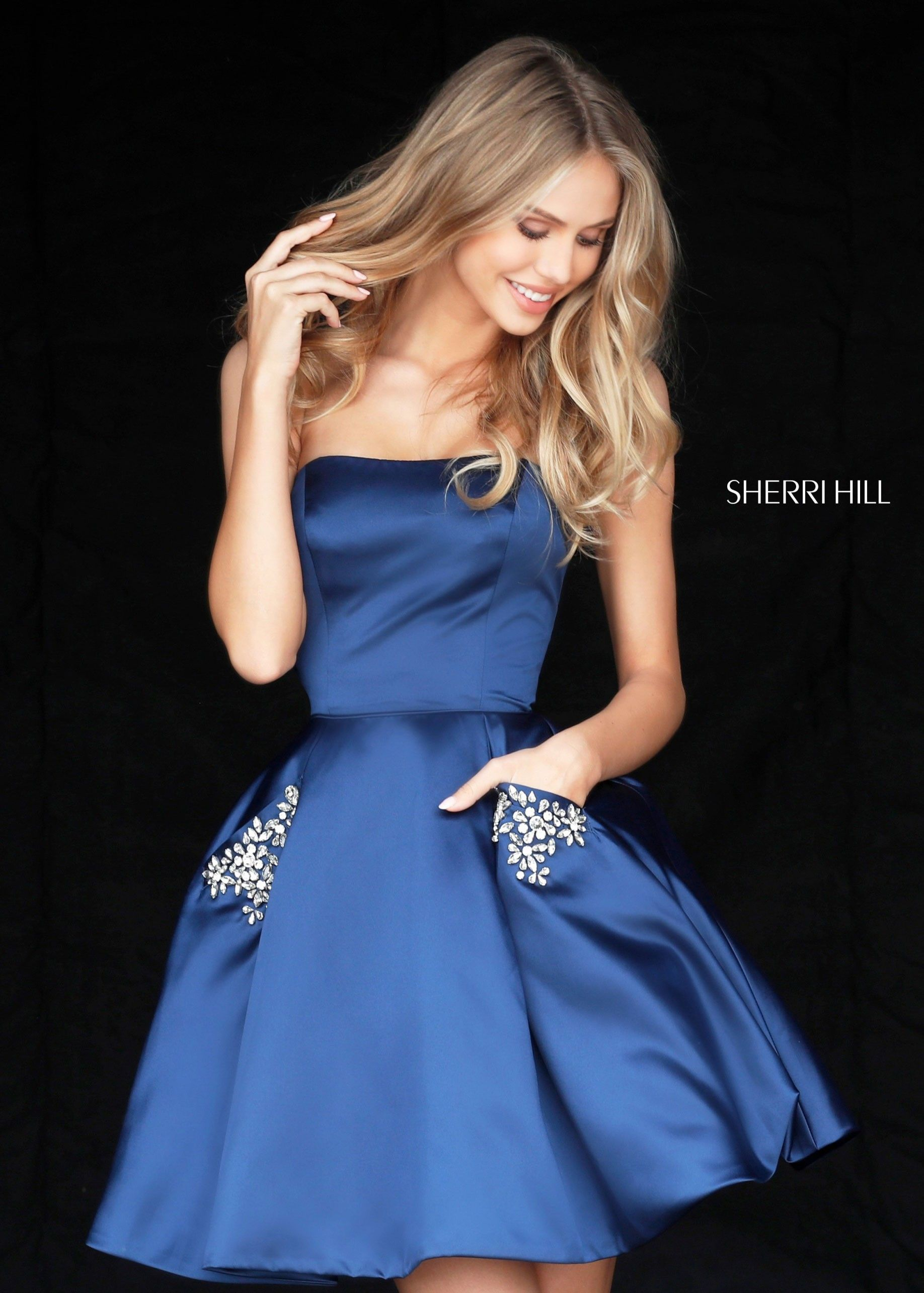 Sherri Hill 51390 Short Satin Dress with Pockets